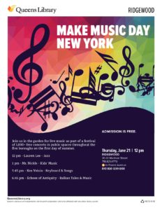 Make Music Day New York @ Queens Library @ Ridgewood | New York | United States