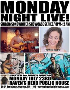 MONDAY NIGHT LIVE! singer/songwriter showcase @ Raven's Head Public House