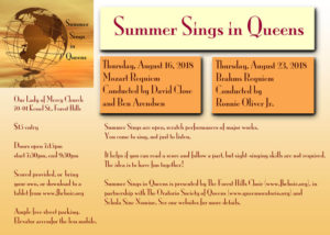 Summer Sings in Queens - Aug 16 & Aug 23 @ Our Lady of Mercy Church