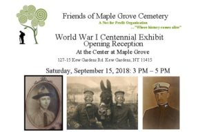 World War I Exhibit in Kew Gardens - Opening Reception @ The Center at Maple Grove Cemetery | New York | United States