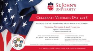 SJU Veterans Day 2018 @ St. John's University, Queens Campus, DAC 416