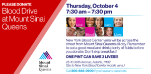 Blood Drive at Mount Sinai Queens @ Mount Sinai Queens | New York | United States