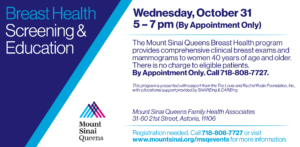 Breast Health Screening and Education @ Mount Sinai Queens Family Health Associates | New York | United States