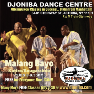 FREE Kutiro/Bougarabou Dance Class with Malang Bayo @ Djoniba Centre @ Djoniba Centre @ RIOULT Dance Center | New York | United States