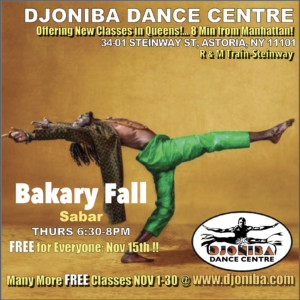 FREE Sabar Dance Class @ Djoniba Centre @ Djoniba Centre @ RIOULT Dance Center | New York | United States