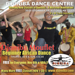 FREE Beginner African Dance with Djoniba @ Djoniba Centre @ Djoniba Centre @ RIOULT Dance Center. | New York | United States