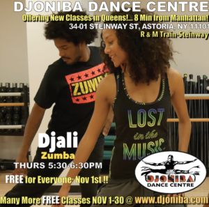 FREE Zumba @ Djoniba Centre @  Djoniba Centre @ RIOULT Dance Center | New York | United States
