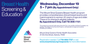 Breast Health Screening & Education @ Mount Sinai Queens Family Health Associates | New York | United States
