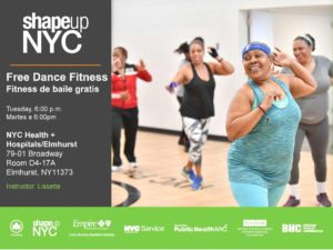 ShapeUp NYC Free dance fitness class every Tuesday until December 18th @ NYC health + hospital /Elmhurst ROOM D4-17A | New York | United States