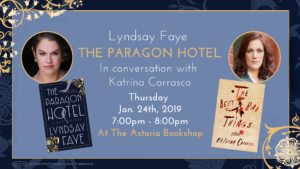 Lyndsay Faye in conversation with Karina Carrasco on The Paragon Hotel @ The Astoria Bookshop | New York | United States