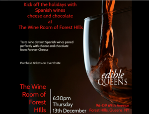 Edible Queens Presents Holiday Wine, Cheese and Chocolate Tasting at the Wine Room of Forest Hills featuring Forever Cheese @ The Wine Shop of Forest Hills | New York | United States