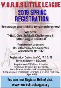 W.O.R.K.S Little League Baseball 2019 Registration @ Club House | New York | United States