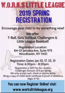 W.O.R.K.S Little League Baseball 2019 Registration @ Club House | New York | United States