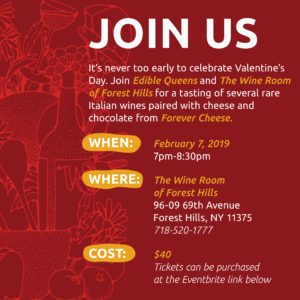 Sip Rare Italian Wines and Taste Cheese and Chocolate with Edible Queens @ The Wine Room of Forest Hills | New York | United States