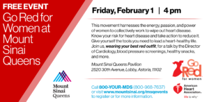 Go Red for Women at Mount Sinai Queens @ Mount Sinai Queens Pavilion | New York | United States
