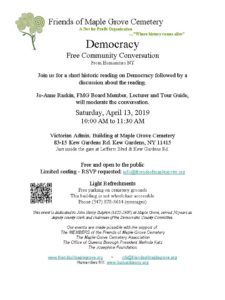 Free Community Conversation on Democracy @ Victorian Admin Building at Maple Grove | New York | United States