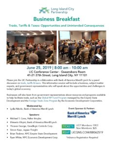 Business Breakfast: Trade, Tariffs & Taxes @ LIC Conference Center - Queensboro Room | New York | United States