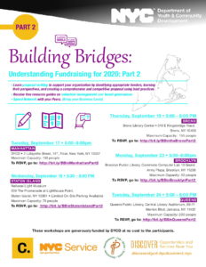 Building Bridges:   Understanding Fundraising for 2020 Part 2 @ Queens Public Library, Central Library Auditorium, | New York | United States