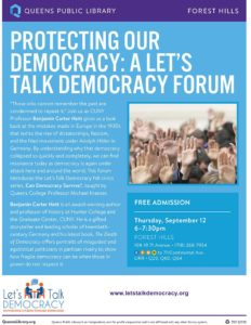 Forum: Protecting Our Democracy @ Queens Library Forest Hills | New York | United States