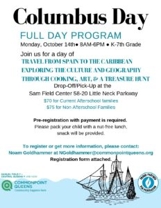 Columbus Day Full Day Childcare @ Commonpoint Queens Sam Field Center | New York | United States