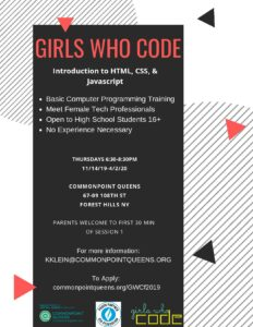Girls Who Code Club Kickoff @ Commonpoint Queens Central Queens   New York   United States