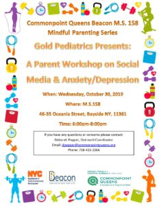 Parent Workshop on Social Media and Anxiety/Depression @ M.S. 158 | New York | United States