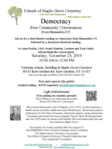 Community Conversation on Democracy from Humanities NY in Kew Gardens @ Victorian Admin Building at Maple Grove Cemetery | New York | United States