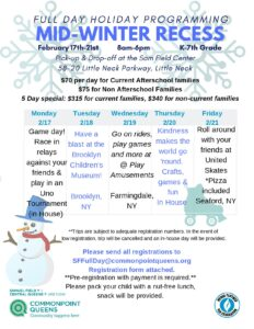 Mid-Winter Recess Full Day Holiday Programming @ Commonpoint Queens Sam Field Center | New York | United States