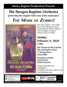 MRP Presents The Paragon Ragtime Orchestra and THE MARK OF ZORRO! @ The Community House | New York | United States