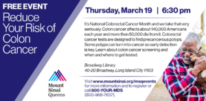 Colon Cancer Awareness & Screening: Reduce Your Risk of Colon Cancer @ Broadway Library | New York | United States