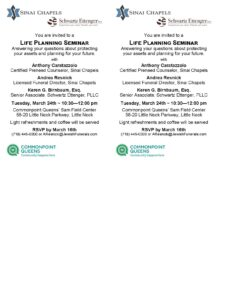 Older Adults Life Planning Seminar @ Commonpoint Queens Sam Field Center   New York   United States