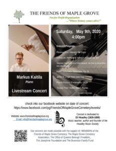 Friends of Maple Grove Live Streaming Concert with Pianist Markus Kaitila @ Online on our Facebook page